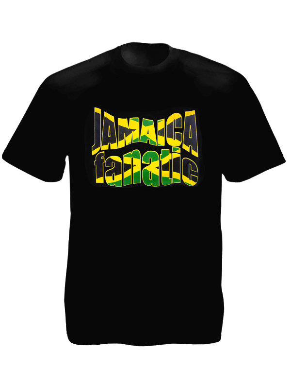 Jamaica Flag Colors Fanatic Black Tee-Shirt