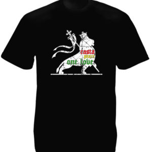 Rasta Lion Peace One Love Black Tee-Shirt