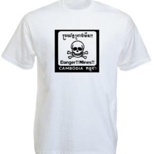 Cambodia Mines Danger White Tee-Shirt
