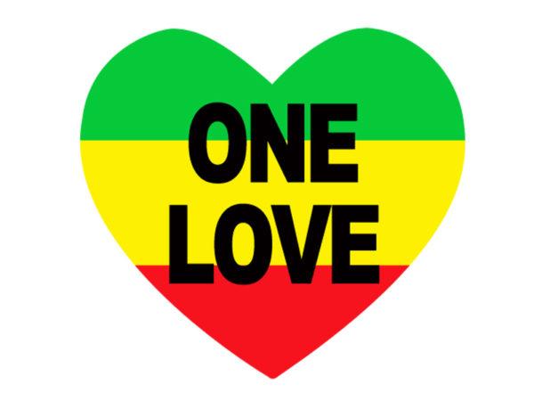 One Love Rasta Colors Heart White Tee-Shirt