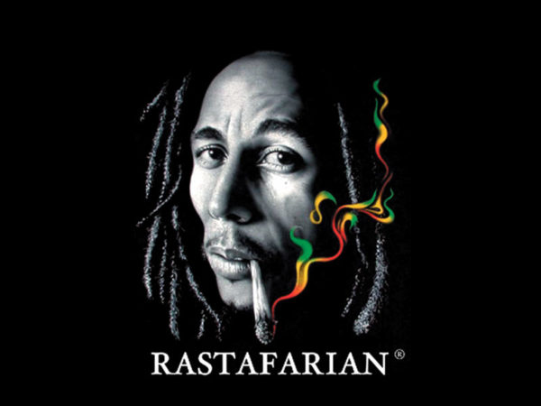 Bob Marley Rastafarian Smoking Joint Black Tee-Shirt