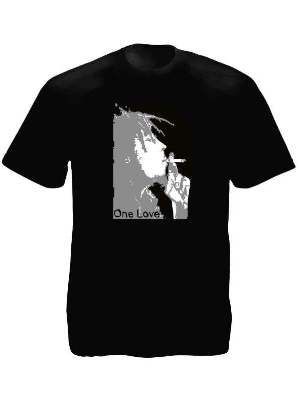 Black and White Bob Marley One Love Black Tee-Shirt