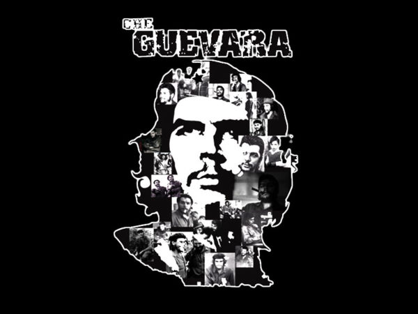 White Che Guevara Portrait Black Tee-Shirt