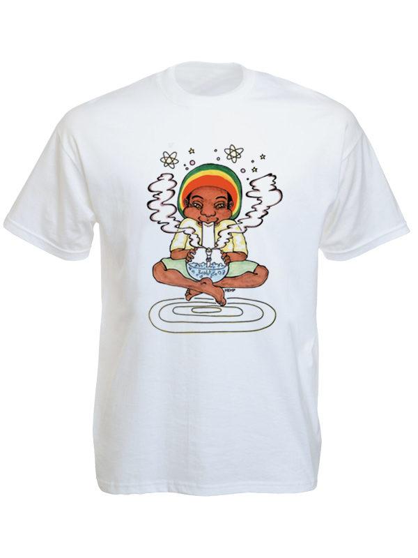 Bong Smoking Rastaman White Tee-Shirt