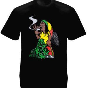 Rastaman Smoking Ganja Joint Black Tee-Shirt