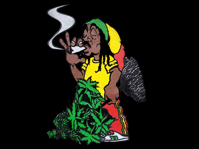 Rastaman Smoking Ganja Joint Black Tee Shirt Rasta