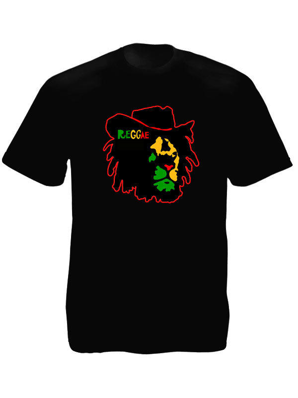 Reggae Colors Lion of Judah Face Black Tee-Shirt