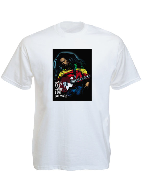 Wake Up and Live Bob Marley White Tee-Shirt