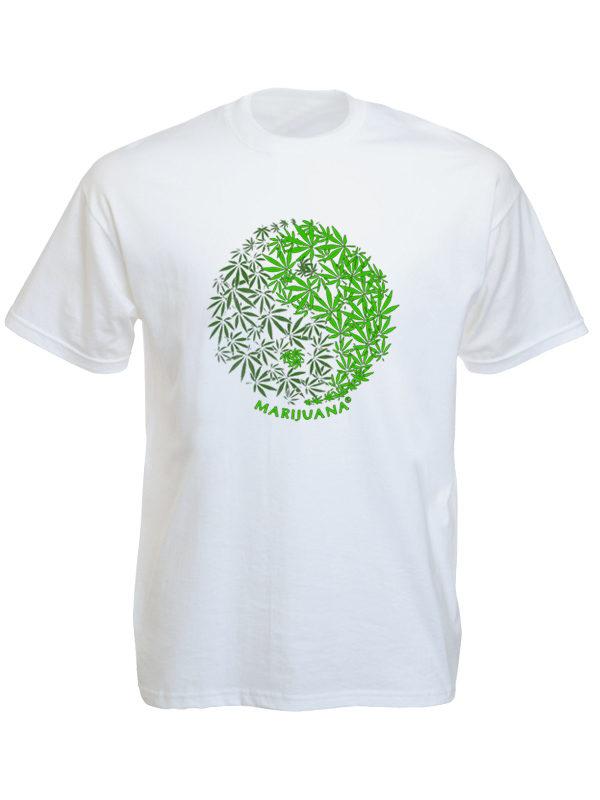 Yin & Yang Marijuana Leaves White Tee-Shirt